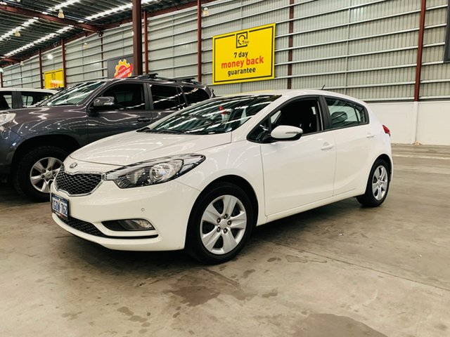 Used Kia Cerato YD MY16 S Canning Vale, 2016 Kia Cerato YD MY16 S White 6 Speed Sports Automatic Hatchback