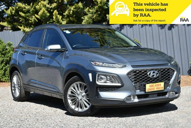 Used Hyundai Kona OS MY18 Elite D-CT AWD Morphett Vale, 2018 Hyundai Kona OS MY18 Elite D-CT AWD Blue 7 Speed Sports Automatic Dual Clutch Wagon