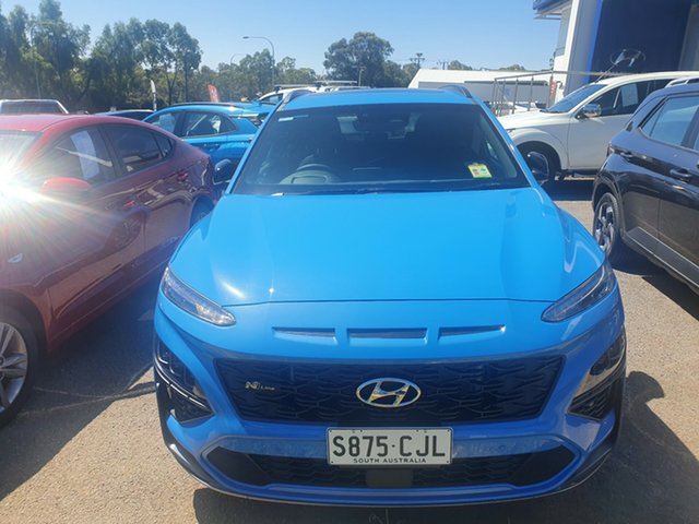 Demo Hyundai Kona Os.v4 MY21 N-Line D-CT AWD Premium Ingle Farm, 2020 Hyundai Kona Os.v4 MY21 N-Line D-CT AWD Premium Surfy Blue 7 Speed Sports Automatic Dual Clutch