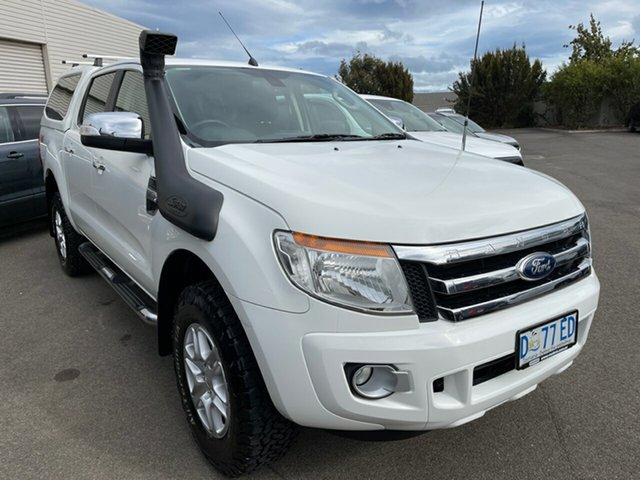 Used Ford Ranger PX XLT Double Cab Devonport, 2013 Ford Ranger PX XLT Double Cab White 6 Speed Manual Utility
