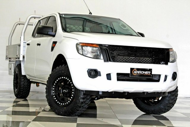 Used Ford Ranger PX XL 2.2 (4x4) Burleigh Heads, 2012 Ford Ranger PX XL 2.2 (4x4) White 6 Speed Manual Crew Cab Chassis