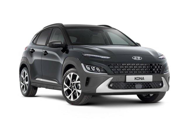 New Hyundai Kona Os.v4 MY21 Highlander 2WD Nailsworth, 2020 Hyundai Kona Os.v4 MY21 Highlander 2WD Dark Knight & Black Roof 8 Speed Constant Variable Wagon