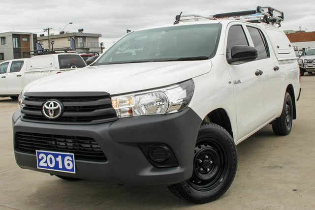 Used Toyota Hilux TGN121R Workmate Double Cab 4x2 Coburg North, 2016 Toyota Hilux TGN121R Workmate Double Cab 4x2 White 6 Speed Sports Automatic Utility