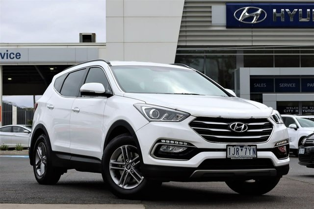 Used Hyundai Santa Fe DM3 MY17 Active South Melbourne, 2017 Hyundai Santa Fe DM3 MY17 Active Pure White 6 Speed Sports Automatic Wagon