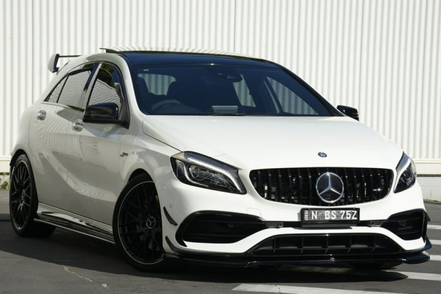 Used Mercedes-Benz A-Class W176 806MY A45 AMG SPEEDSHIFT DCT 4MATIC Wollongong, 2016 Mercedes-Benz A-Class W176 806MY A45 AMG SPEEDSHIFT DCT 4MATIC White 7 Speed