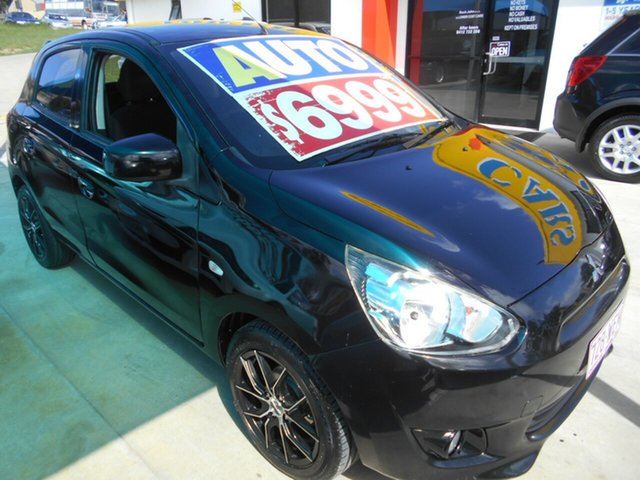 Used Mitsubishi Mirage LA MY14 LS Springwood, 2013 Mitsubishi Mirage LA MY14 LS Black 1 Speed Constant Variable Hatchback