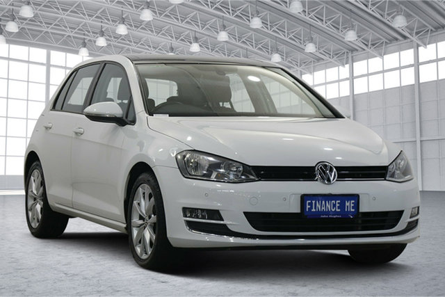 Used Volkswagen Golf VII MY14 103TSI DSG Highline Victoria Park, 2014 Volkswagen Golf VII MY14 103TSI DSG Highline Pure White 7 Speed Sports Automatic Dual Clutch