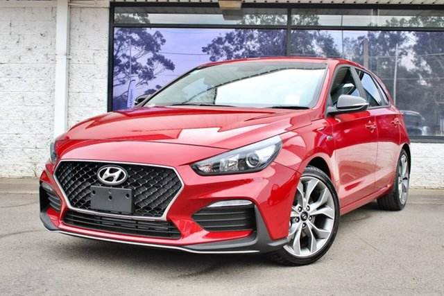 Demo Hyundai i30 PD.V4 MY21 N Line D-CT Penrith, 2020 Hyundai i30 PD.V4 MY21 N Line D-CT Fiery Red 7 Speed Sports Automatic Dual Clutch Hatchback
