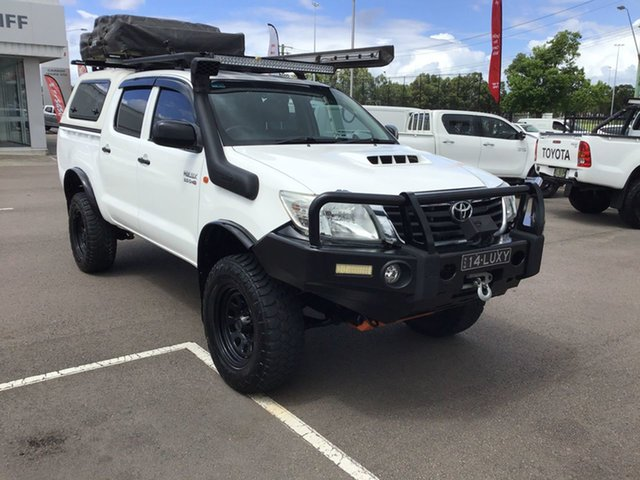 Used Toyota Hilux KUN26R MY12 SR Double Cab Cardiff, 2013 Toyota Hilux KUN26R MY12 SR Double Cab White 5 Speed Manual Utility