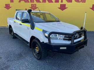 2018 Toyota Hilux GUN126R SR Double Cab White 6 Speed Manual Cab Chassis.