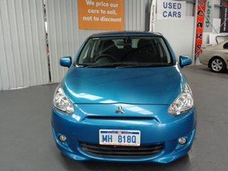 2013 Mitsubishi Mirage LA MY14 LS Blue 5 Speed Manual Hatchback.