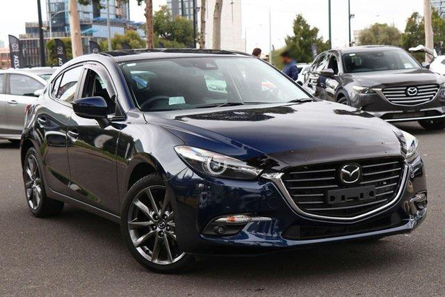 Used Mazda 3 BN5438 SP25 SKYACTIV-Drive Astina South Melbourne, 2018 Mazda 3 BN5438 SP25 SKYACTIV-Drive Astina Deep Crystal Blue 6 Speed Sports Automatic Hatchback