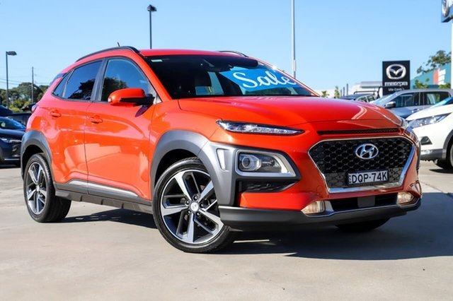 Used Hyundai Kona OS MY18 Highlander 2WD Kirrawee, 2017 Hyundai Kona OS MY18 Highlander 2WD Orange 6 Speed Sports Automatic Wagon