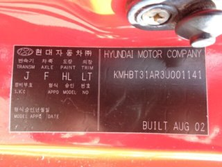 2002 Hyundai Getz TB GL Red 5 Speed Manual Hatchback