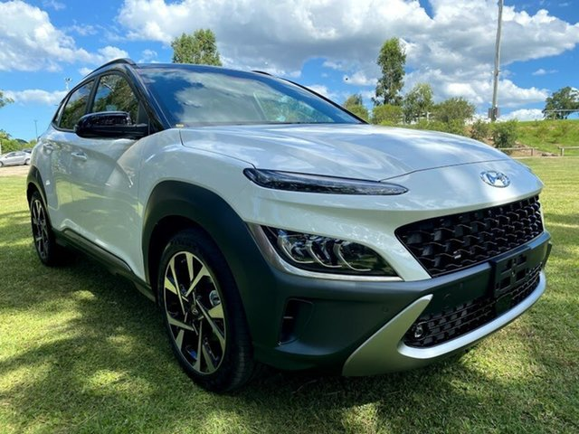 New Hyundai Kona Os.v4 MY21 Highlander 2WD Mount Gravatt, 2020 Hyundai Kona Os.v4 MY21 Highlander 2WD Atlas White + Black Roof 8 Speed Constant Variable Wagon