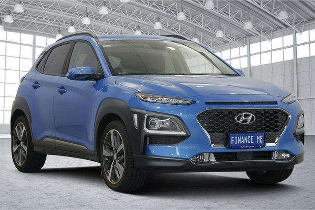 Used Hyundai Kona OS.3 MY20 Highlander 2WD Victoria Park, 2019 Hyundai Kona OS.3 MY20 Highlander 2WD Blue Lagoon 6 Speed Sports Automatic Wagon