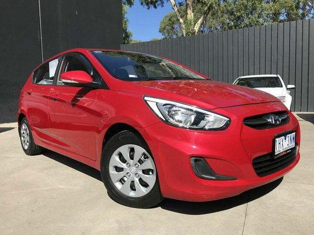 Used Hyundai Accent RB4 MY16 Active Fawkner, 2016 Hyundai Accent RB4 MY16 Active Red 6 Speed CVT Auto Sequential Hatchback