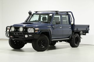 2018 Toyota Landcruiser VDJ79R GXL (4x4) Blue 5 Speed Manual Double Cab Chassis.