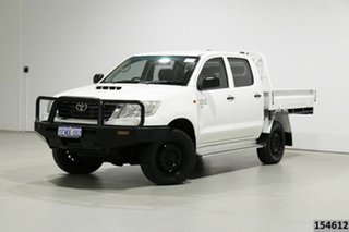 2014 Toyota Hilux KUN26R MY14 SR (4x4) White 5 Speed Manual Dual Cab Chassis.