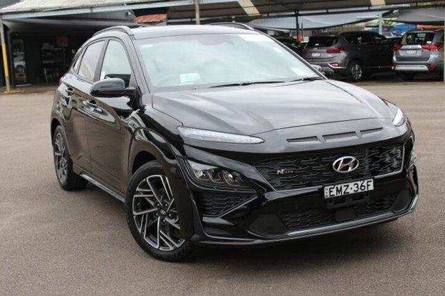 Demo Hyundai Kona Os.v4 MY21 N-Line D-CT AWD Premium Tuggerah, 2020 Hyundai Kona Os.v4 MY21 N-Line D-CT AWD Premium Phantom Black 7 Speed