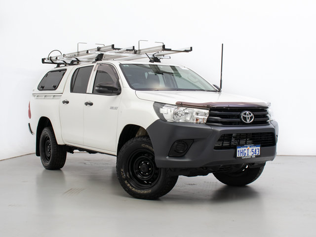 Used Toyota Hilux GUN125R Workmate (4x4), 2017 Toyota Hilux GUN125R Workmate (4x4) White 6 Speed Automatic Dual Cab Utility