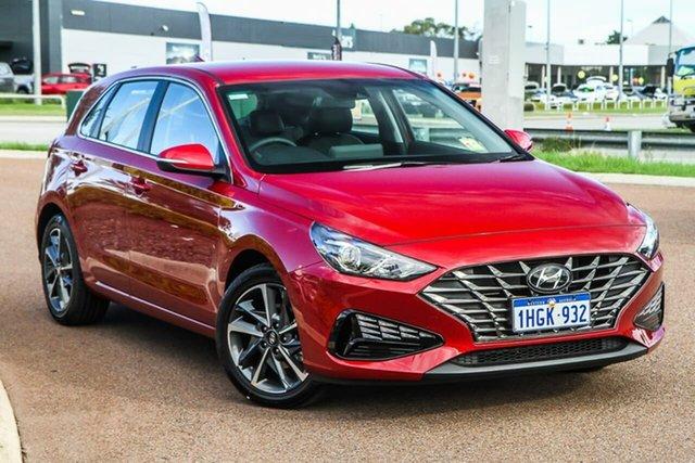 Demo Hyundai i30 PD.V4 MY21 Elite Rockingham, 2021 Hyundai i30 PD.V4 MY21 Elite Fiery Red 6 Speed Sports Automatic Hatchback