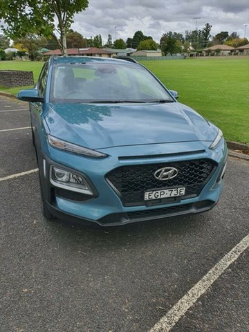 Used Hyundai Kona OS.3 MY20 Active 2WD Armidale, 2019 Hyundai Kona OS.3 MY20 Active 2WD Aqua 6 Speed Sports Automatic Wagon