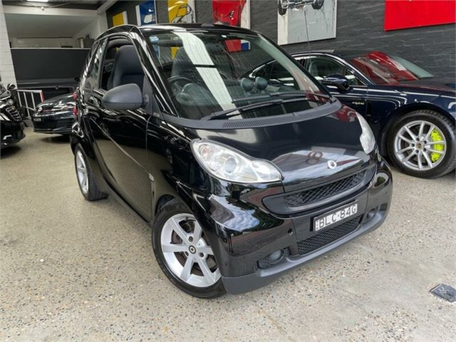 Used Smart ForTwo 451 Pulse Glebe, 2009 Smart ForTwo 451 pulse mhd Black Seq Manual Auto-Clutch Cabriolet