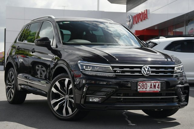 Pre-Owned Volkswagen Tiguan 5N MY18 162TSI DSG 4MOTION Highline Woolloongabba, 2018 Volkswagen Tiguan 5N MY18 162TSI DSG 4MOTION Highline Black 7 Speed