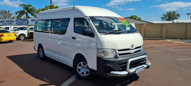 Used Toyota HiAce KDH223R MY11 Commuter High Roof Super LWB East Bunbury, 2011 Toyota HiAce KDH223R MY11 Commuter High Roof Super LWB White 5 Speed Manual Bus