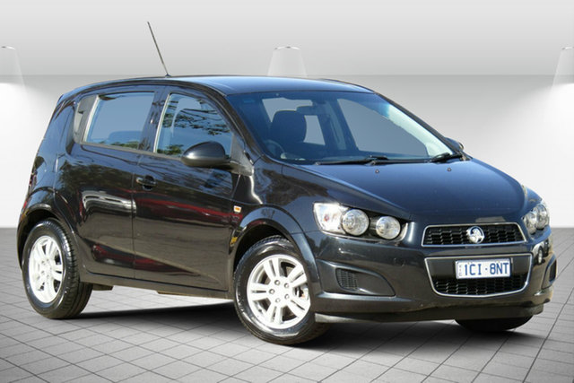 Used Holden Barina TM MY14 CD Oakleigh South, 2014 Holden Barina TM MY14 CD 8 Ball Black 6 Speed Automatic Hatchback