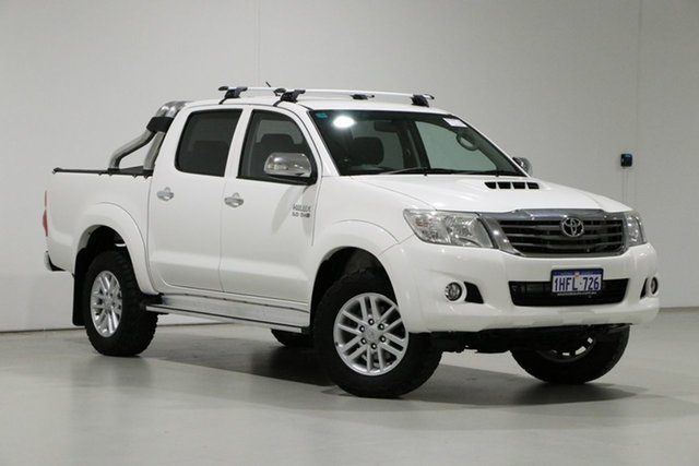 Used Toyota Hilux KUN26R MY14 SR5 (4x4) Bentley, 2014 Toyota Hilux KUN26R MY14 SR5 (4x4) White 5 Speed Automatic Dual Cab Pick-up