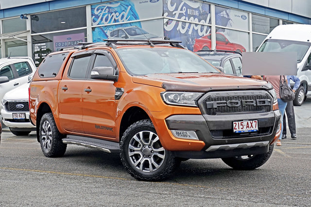 Used Ford Ranger PX MkII Wildtrak Double Cab Springwood, 2016 Ford Ranger PX MkII Wildtrak Double Cab Orange 6 Speed Sports Automatic Utility