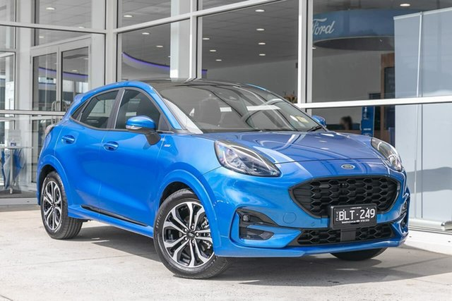 Demo Ford Puma JK 2020.75MY ST-Line Ferntree Gully, 2020 Ford Puma JK 2020.75MY ST-Line Blue 7 Speed Sports Automatic Dual Clutch Wagon