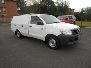 2012 Toyota Hilux TGN16R MY12 Workmate White 5 Speed Manual Cab Chassis.