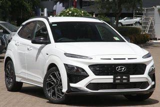 2020 Hyundai Kona Os.v4 MY21 N-Line D-CT AWD Atlas White 7 Speed Sports Automatic Dual Clutch Wagon.