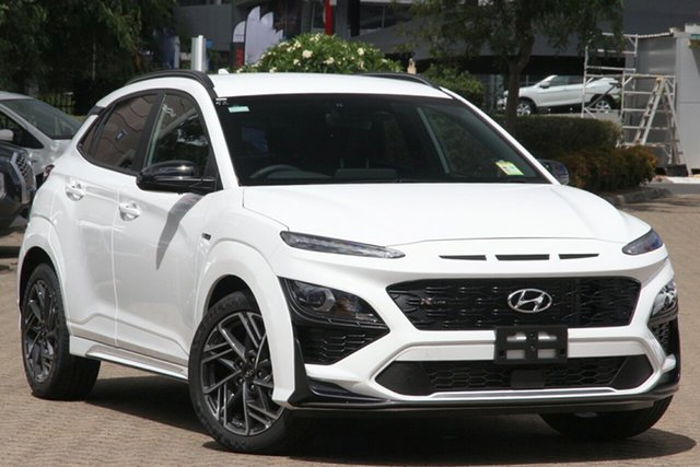 New Hyundai Kona Os.v4 MY21 N-Line D-CT AWD Hamilton, 2021 Hyundai Kona Os.v4 MY21 N-Line D-CT AWD Atlas White 7 Speed Sports Automatic Dual Clutch Wagon