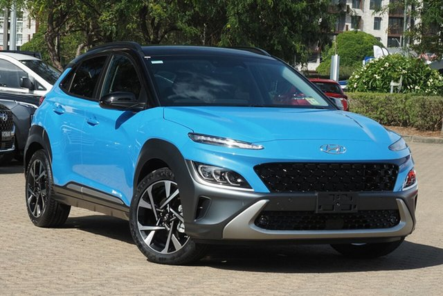 New Hyundai Kona Os.v4 MY21 Highlander 2WD Cardiff, 2021 Hyundai Kona Os.v4 MY21 Highlander 2WD Surfy Blue 8 Speed Constant Variable Wagon