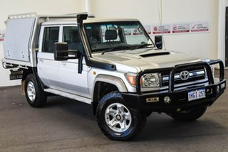 2015 Toyota Landcruiser VDJ79R GXL Double Cab Silver Pearl 5 Speed Manual Cab Chassis.