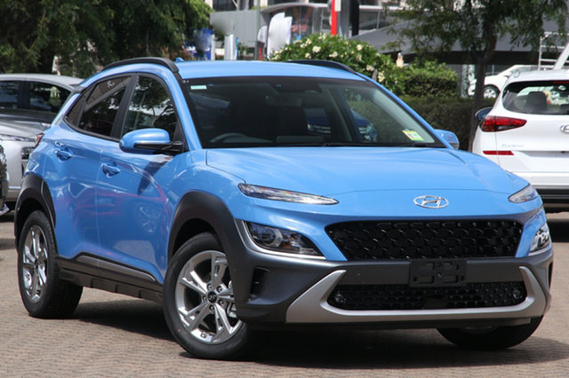 New Hyundai Kona Os.v4 MY21 Elite 2WD Moorooka, 2021 Hyundai Kona Os.v4 MY21 Elite 2WD Surfy Blue 8 Speed Constant Variable Wagon