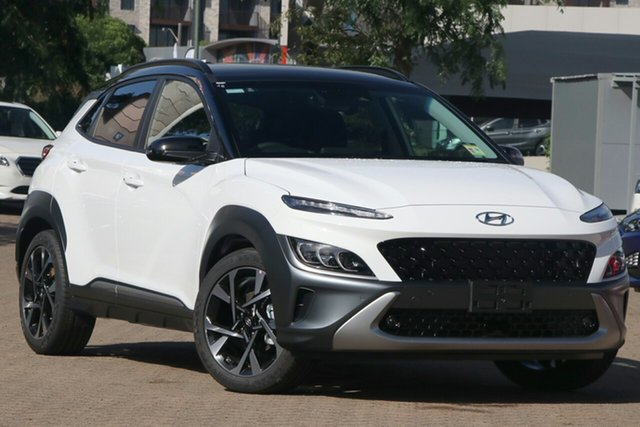 New Hyundai Kona Os.v4 MY21 Highlander 2WD Burnie, 2020 Hyundai Kona Os.v4 MY21 Highlander 2WD Atlas White & Black Roof 8 Speed Constant Variable Wagon