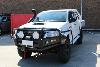 2014 Toyota Hilux KUN26R MY14 SR (4x4) White 5 Speed Automatic Double Cab Chassis.