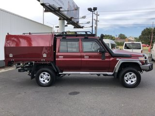 2018 Toyota Landcruiser VDJ79R GXL (4x4) Merlot Red 5 Speed Manual Double Cab Chassis.