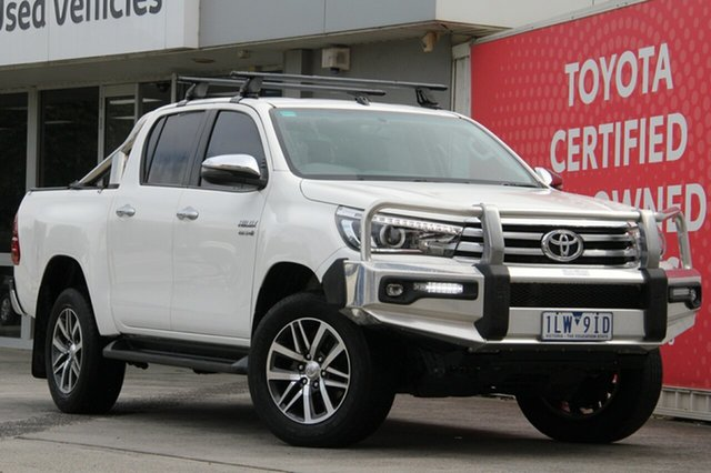Pre-Owned Toyota Hilux GUN126R SR5 Double Cab Glen Waverley, 2017 Toyota Hilux GUN126R SR5 Double Cab Glacier White 6 Speed Sports Automatic Utility