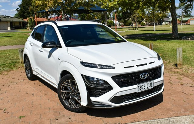 Demo Hyundai Kona Os.v4 MY21 N-Line D-CT AWD Ingle Farm, 2020 Hyundai Kona Os.v4 MY21 N-Line D-CT AWD Atlas White 7 Speed Sports Automatic Dual Clutch Wagon