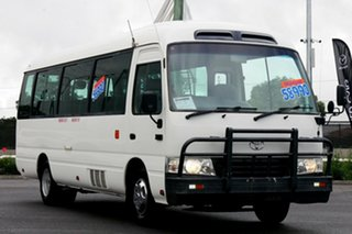 2011 Toyota Coaster XZB50R 07 Upgrade Standard (LWB) White 5 Speed Manual Bus.
