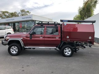2018 Toyota Landcruiser VDJ79R GXL (4x4) Merlot Red 5 Speed Manual Double Cab Chassis