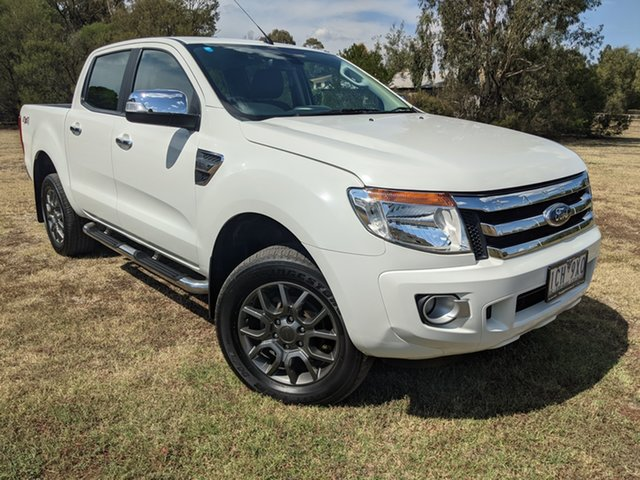 Used Ford Ranger PX XLT Double Cab Epsom, 2014 Ford Ranger PX XLT Double Cab Cool White 6 Speed Sports Automatic Utility