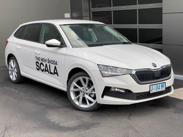 Demo Skoda Scala NW MY20.5 110TSI DSG Hobart, 2020 Skoda Scala NW MY20.5 110TSI DSG White 7 Speed Sports Automatic Dual Clutch Hatchback