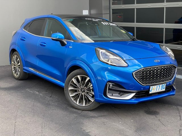 Used Ford Puma JK 2020.75MY ST-Line V Hobart, 2020 Ford Puma JK 2020.75MY ST-Line V Blue 7 Speed Sports Automatic Dual Clutch Wagon